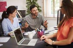 говорить встречи компьтер-книжки стола cmputer бизнесмена дела сь к использованию женщины Стоковое Фото