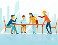 говорить встречи компьтер-книжки стола cmputer бизнесмена дела сь к использованию женщины Люди говоря и работая внутри иллюстрация вектора