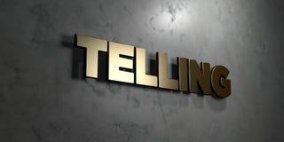 Говорить - знак золота установленный на лоснистой мраморной стене - 3D представил иллюстрацию неизрасходованного запаса королевск иллюстрация штока