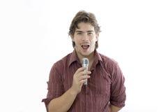 говорить микрофона человека стоковое изображение