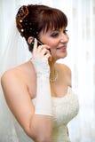 говорить мобильного телефона невесты Стоковое фото RF