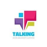 Говорить - речь клокочет иллюстрация концепции логотипа вектора в плоском стиле Значок диалога знак болтовни Социальный символ ср Стоковое фото RF