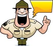Говорить сержанта-инструктора по строевой подготовке шаржа иллюстрация штока