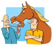 Говорить смотрящ дареный конь в шарже рта Стоковое фото RF