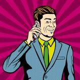 говорить сотового телефона бизнесмена иллюстрация штока