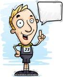 Говорить спортсмена следа шаржа иллюстрация вектора