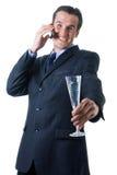 говорить телефона бизнесмена стоковое фото rf