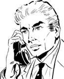 говорить телефона бизнесмена иллюстрация штока