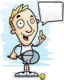 Говорить теннисиста шаржа иллюстрация штока