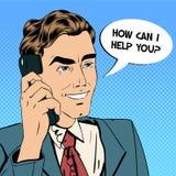 говорить телефона бизнесмена Он-лайн поддержка иллюстрация вектора