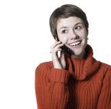 Говорить телефона женщины стоковая фотография rf