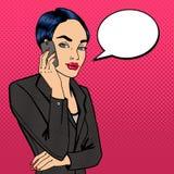 говорить телефона повелительницы дела Привлекательная коммерсантка иллюстрация штока