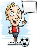 Говорить футболиста шаржа иллюстрация штока