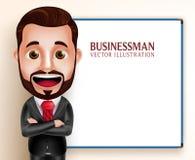 Говорить характера вектора бизнесмена счастливый для представления иллюстрация вектора