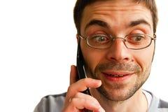 говорить человека удивленный телефоном Стоковое Фото