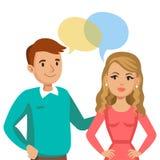 Говорить человека и женщин Беседа пар или друзей вектор иллюстрация штока