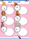 Говорящ времени воспитательное рабочее лист с животными бесплатная иллюстрация