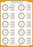 говорящ время, выберите правильное время, рабочее лист для детей, что время иллюстрация штока