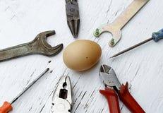 Говорящ если оно ain ` t сломало, то, наденьте починку ` t оно метафора с целым яйцом Стоковые Изображения