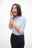Говоря бизнес-леди на белой предпосылке Стоковое Изображение RF