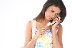 говоря женщина телефона Стоковая Фотография
