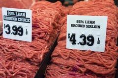 Говяжий фарш в рынке Стоковое Изображение RF