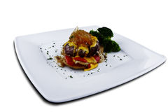 Говядина с сыром и соусом мустарда Стоковое Изображение RF