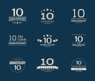 10 - годовщина года празднуя логотип 10th комплект логотипа годовщины Стоковые Фото