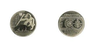 Годовщина монетки юбилея 100th творения украинского военно-морского флота стоковые изображения