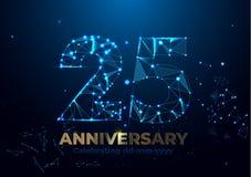 Годовщина 25 Полигональное знамя приветствию годовщины Праздновать 25th партию события годовщины предпосылка чешет желтый цвет по иллюстрация штока