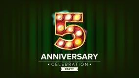 5 годовщины лет вектора знамени 5, пятое торжество Номер накаляя ламп Для дня рождения Традиционн Компании иллюстрация штока