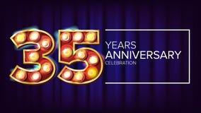 35 годовщины лет вектора знамени 35, тридцать пятое торжество Винтажный золотой загоренный номер неонового света бесплатная иллюстрация