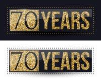 70 годовщины лет знамени золота на темных и белых предпосылках Стоковая Фотография RF