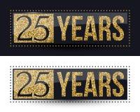 25 годовщины лет знамени золота на темных и белых предпосылках Стоковые Фотографии RF