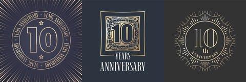 10 годовщины лет значка вектора, комплекта логотипа иллюстрация вектора