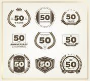 50 годовщины лет комплекта логотипа стоковое фото rf