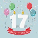 17 годовщины лет поздравительной открытки с свечами Стоковое фото RF