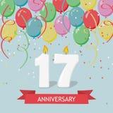 17 годовщины лет поздравительной открытки с свечами Стоковое Изображение