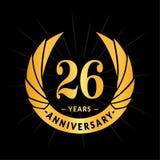 26 годовщины лет шаблона дизайна Элегантный дизайн логотипа годовщины 26 лет логотипа иллюстрация штока