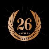 26 годовщины лет шаблона дизайна Элегантный дизайн логотипа годовщины 26 лет логотипа иллюстрация вектора