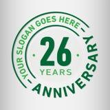 26 годовщины торжества лет шаблона дизайна Вектор и иллюстрация годовщины 26 лет логотипа иллюстрация вектора