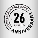 26 годовщины торжества лет шаблона дизайна Вектор и иллюстрация годовщины 26 лет логотипа бесплатная иллюстрация
