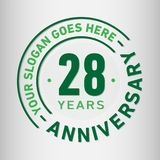 28 годовщины торжества лет шаблона дизайна Вектор и иллюстрация годовщины 28 лет логотипа иллюстрация штока