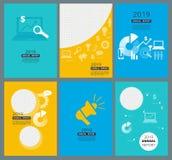 Годовые отчеты покрывают Шаблон дизайна брошюры деловой компании с местом для ваших текста и геометрии изображений абстрактной иллюстрация вектора