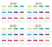 Год 2018 2019 2020 вектор 2021 календаря иллюстрация штока
