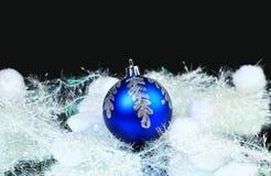 год голубого кануна новый s шарика Стоковое Изображение