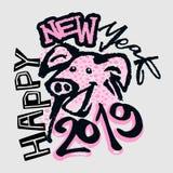 Год знака зодиака 2019 китайцев печати свиньи в стиле фанк иллюстрация штока