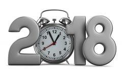 2018 год и будильник на белой предпосылке Изолированное 3D Стоковые Фото
