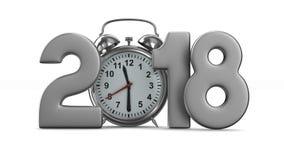 2018 год и будильник на белой предпосылке изолированные 3d представляют видеоматериал