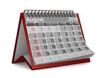 2019 год Календарь на август изолировал иллюстрацию 3D иллюстрация штока